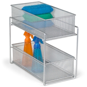 Silver 2-drawer mesh organizer