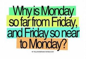 Why is Monday so close to Friday